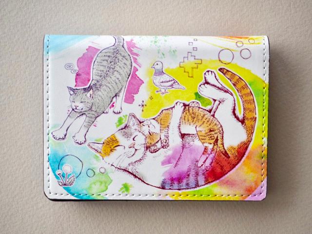 《送料無料/受注生産》夢見る猫の二つ折りカードケース