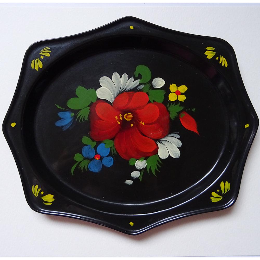 チェコ ハンドペイント お花柄のメタルプレート