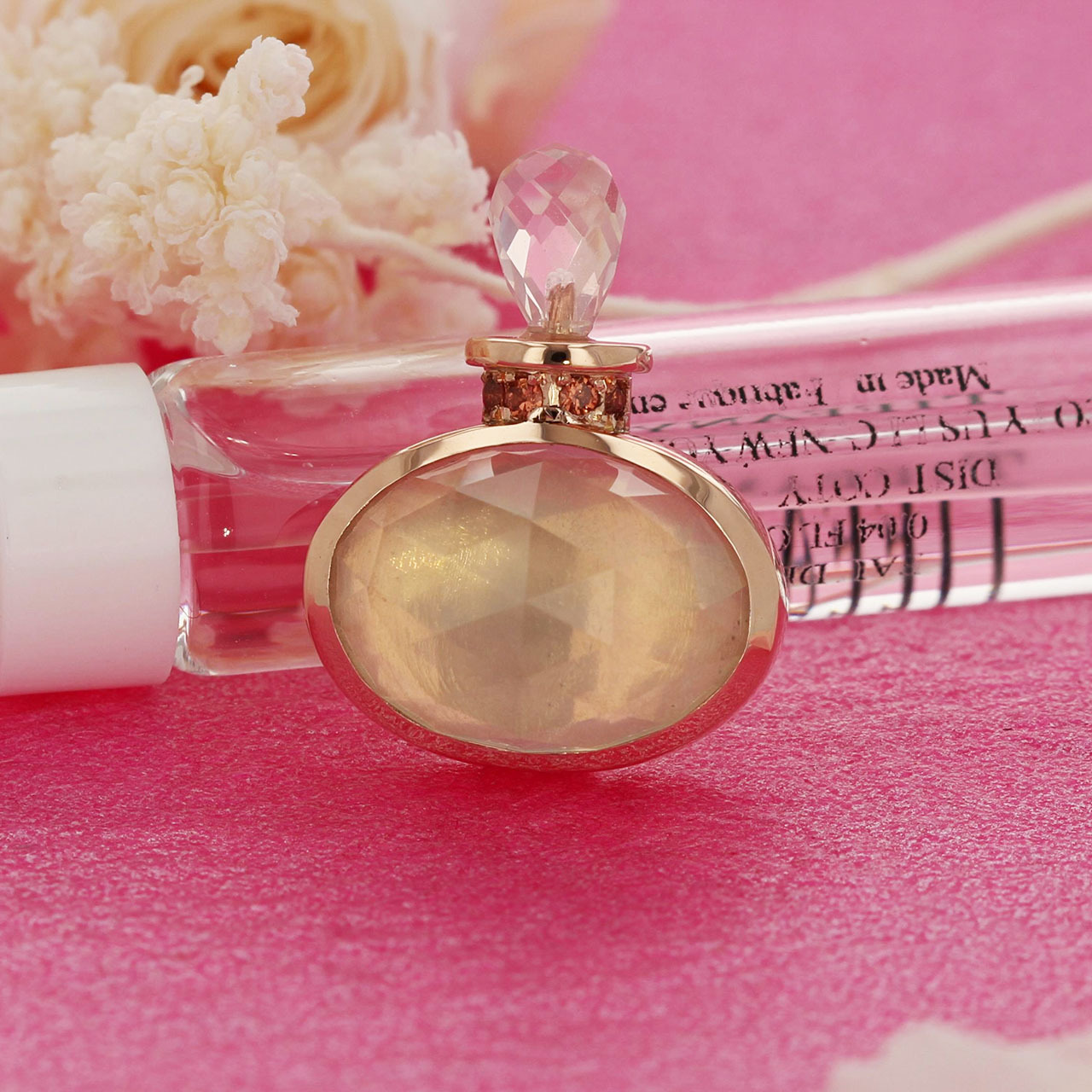 K10PG / ネックレス / Bottle of perfume ローズクォーツ×ガーネット