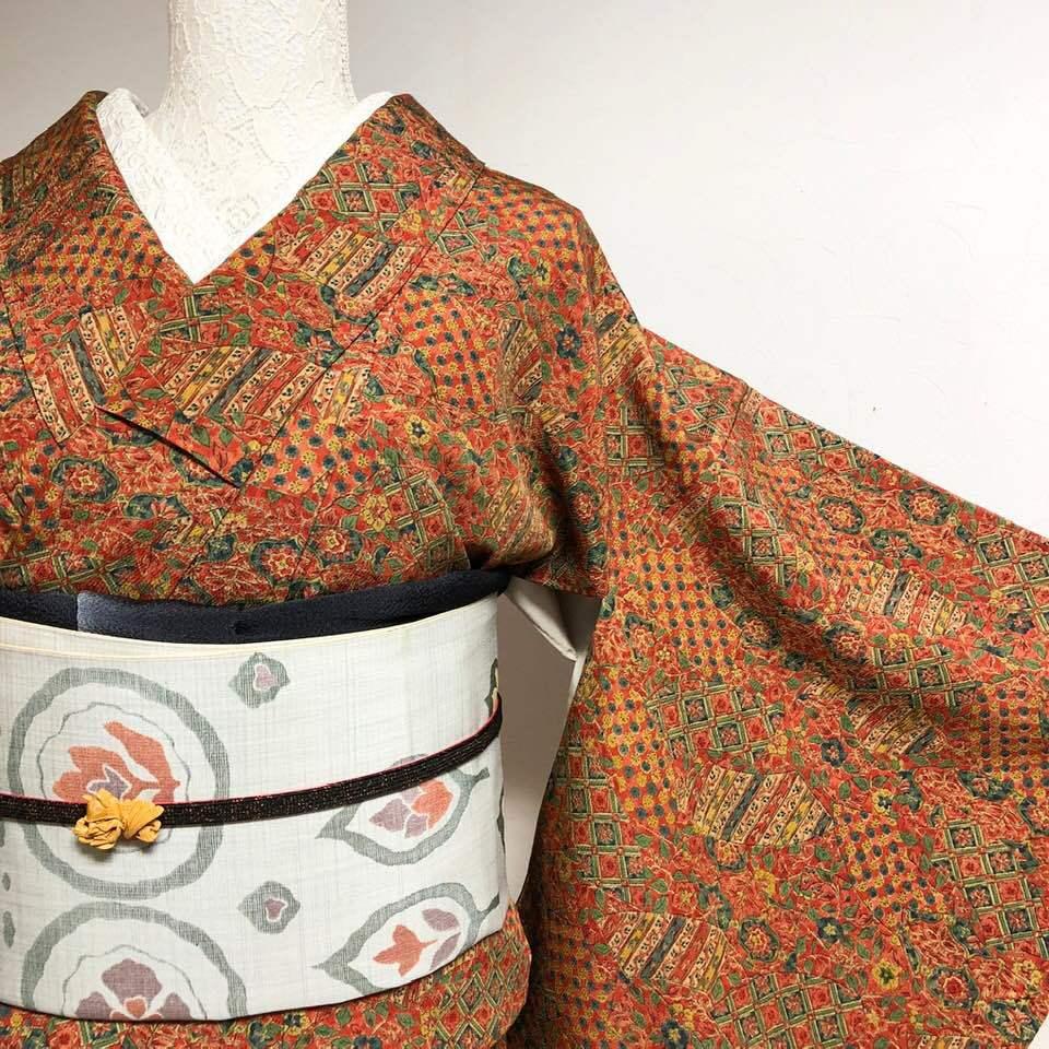 【美品】小紋 草花・扇・格子 更紗文様の赤茶×青緑 丈161裄65