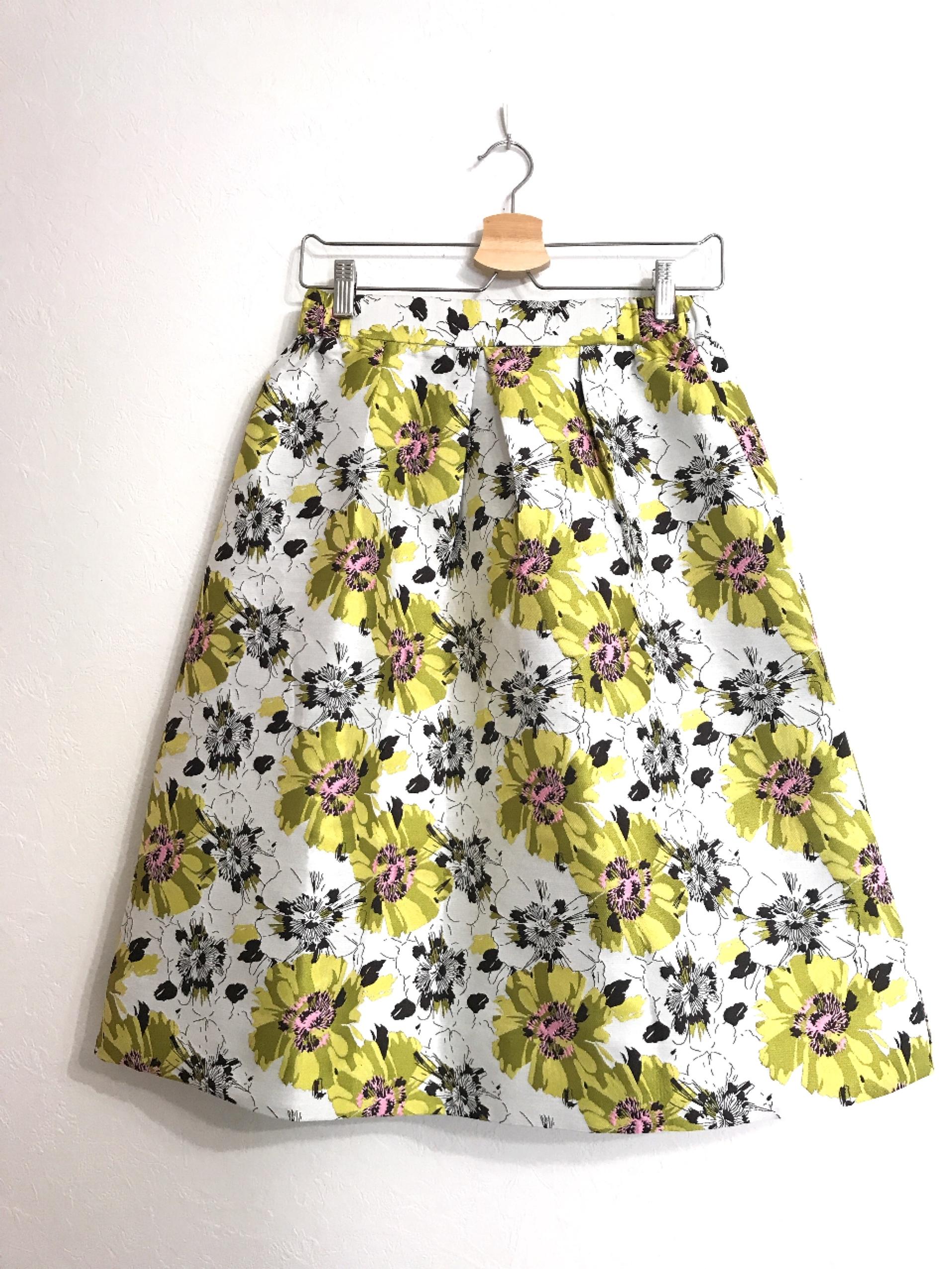 しっかり生地のジャガード織り花柄スカート ライム
