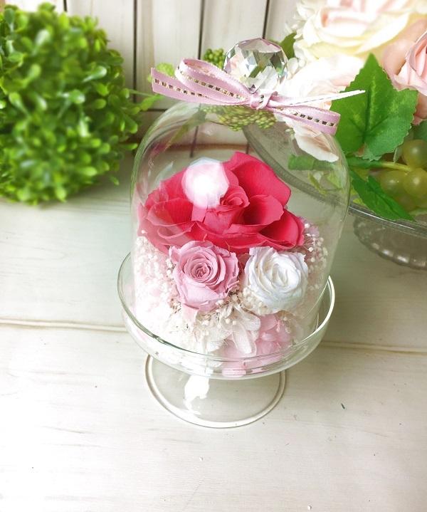 【母の日】プリザーブドフラワークリスタルドーム Pink【贈り物に】