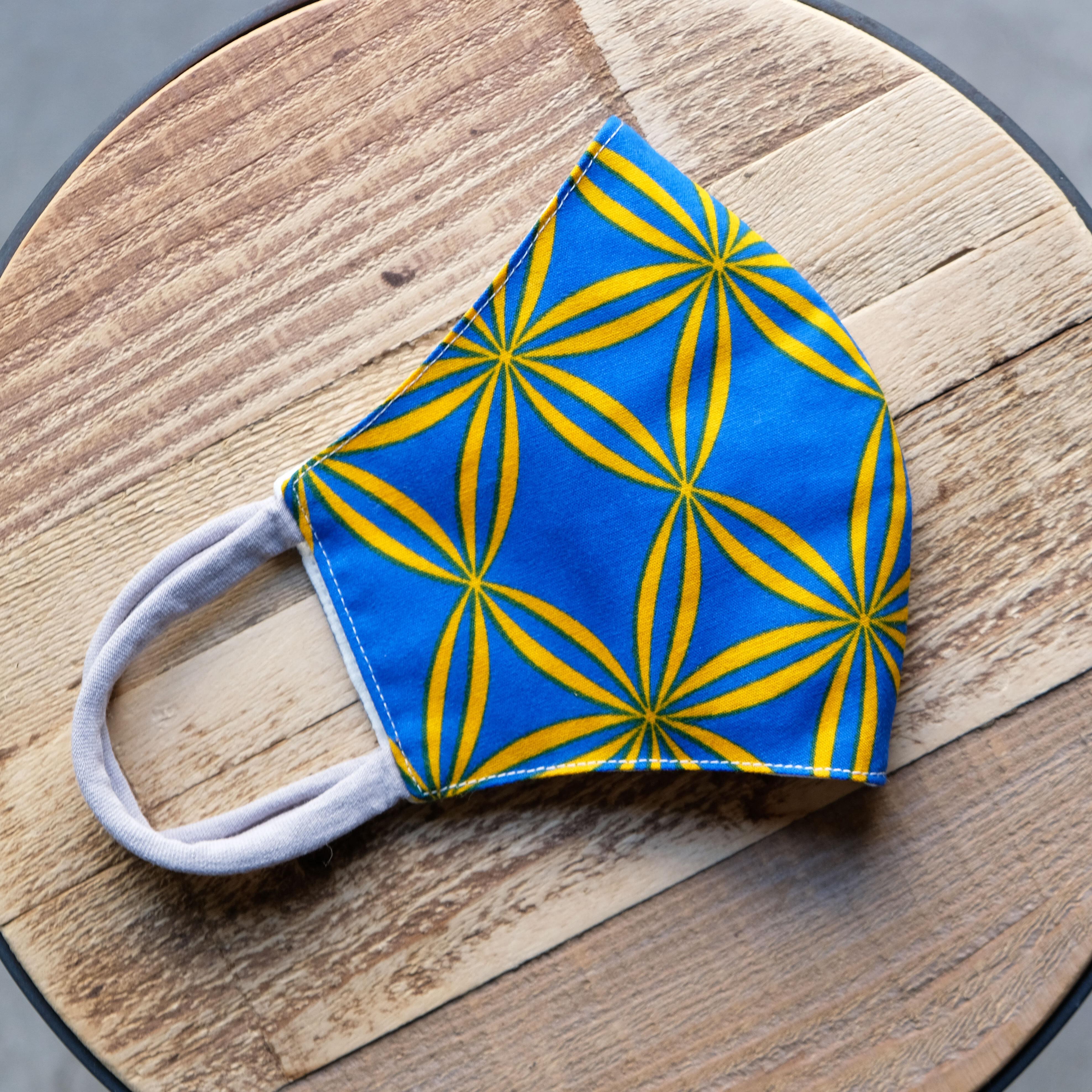 アフリカ布で作った銅繊維シート入りマスク/格子