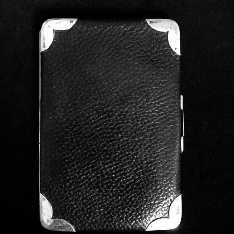 Antique leather and silver wallet - card case