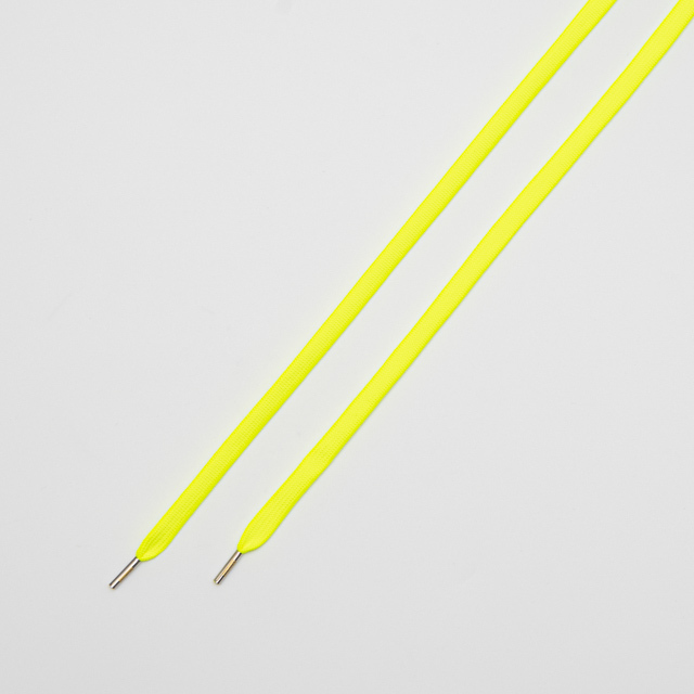 "FLAT LACES SOLID/METAL TIP ""NEON YELLOW/METAL SILVER"""