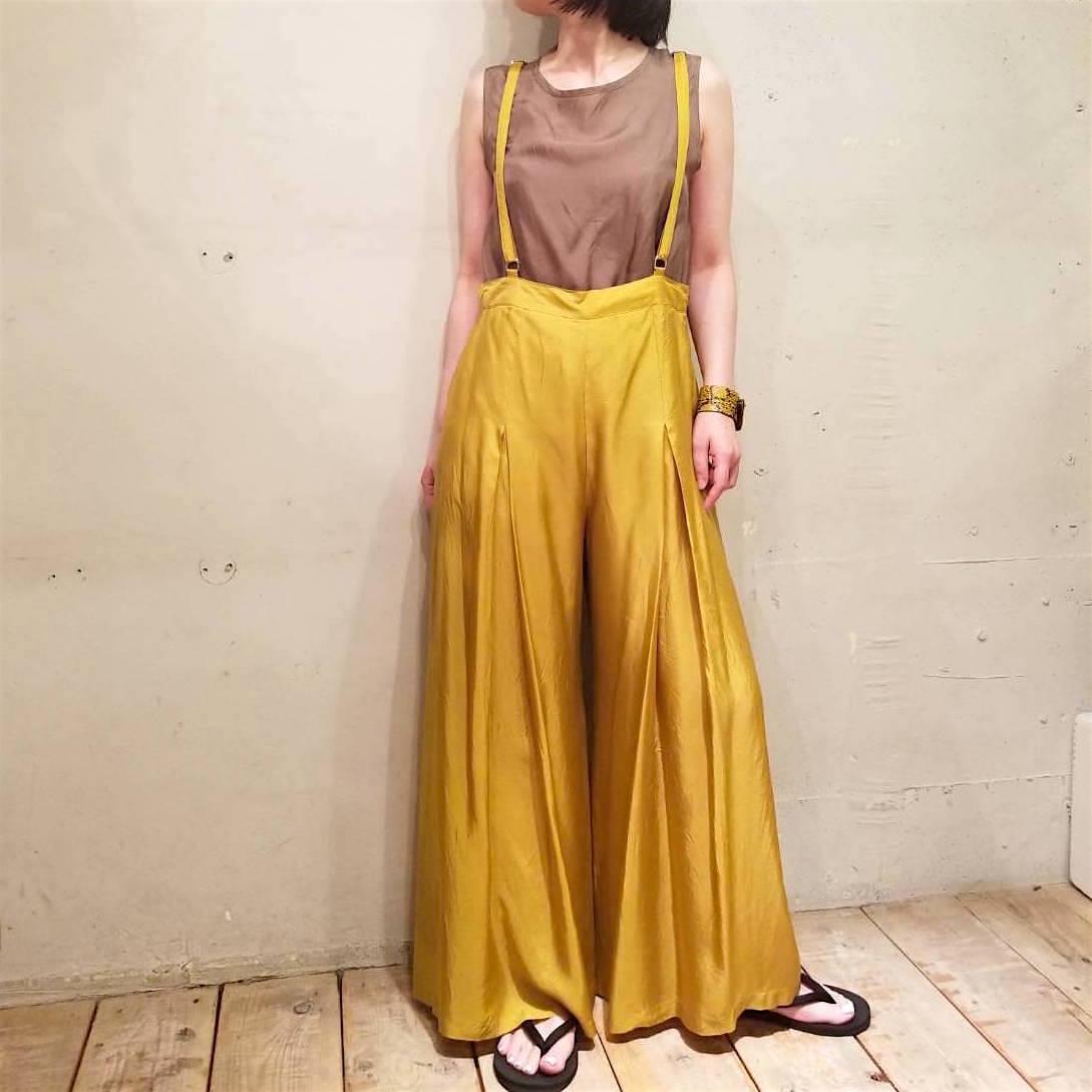 【hippiness】cupro suspender pants(mustard)/ 【ヒッピネス】キュプラ サスペンダー パンツ (マスタード)