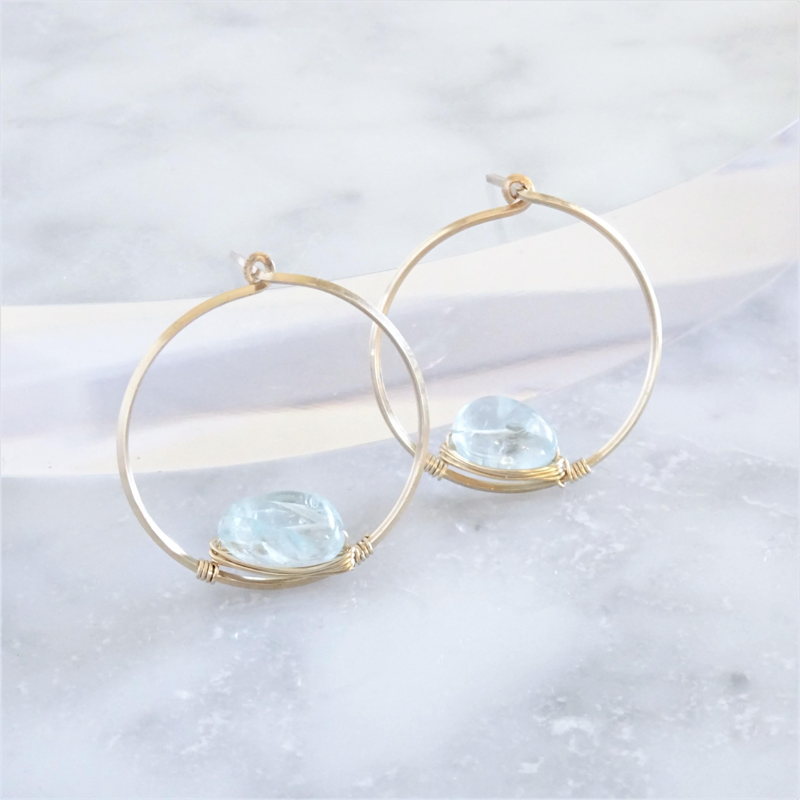 14kgf*宝石質AAA Aquamarine pierced earring / earring