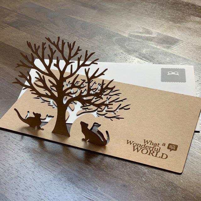 立体カード-木を見上げる2匹のねこ