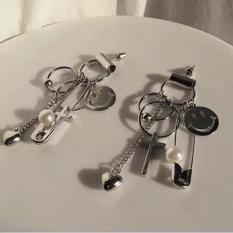 smiley safety pin earrings