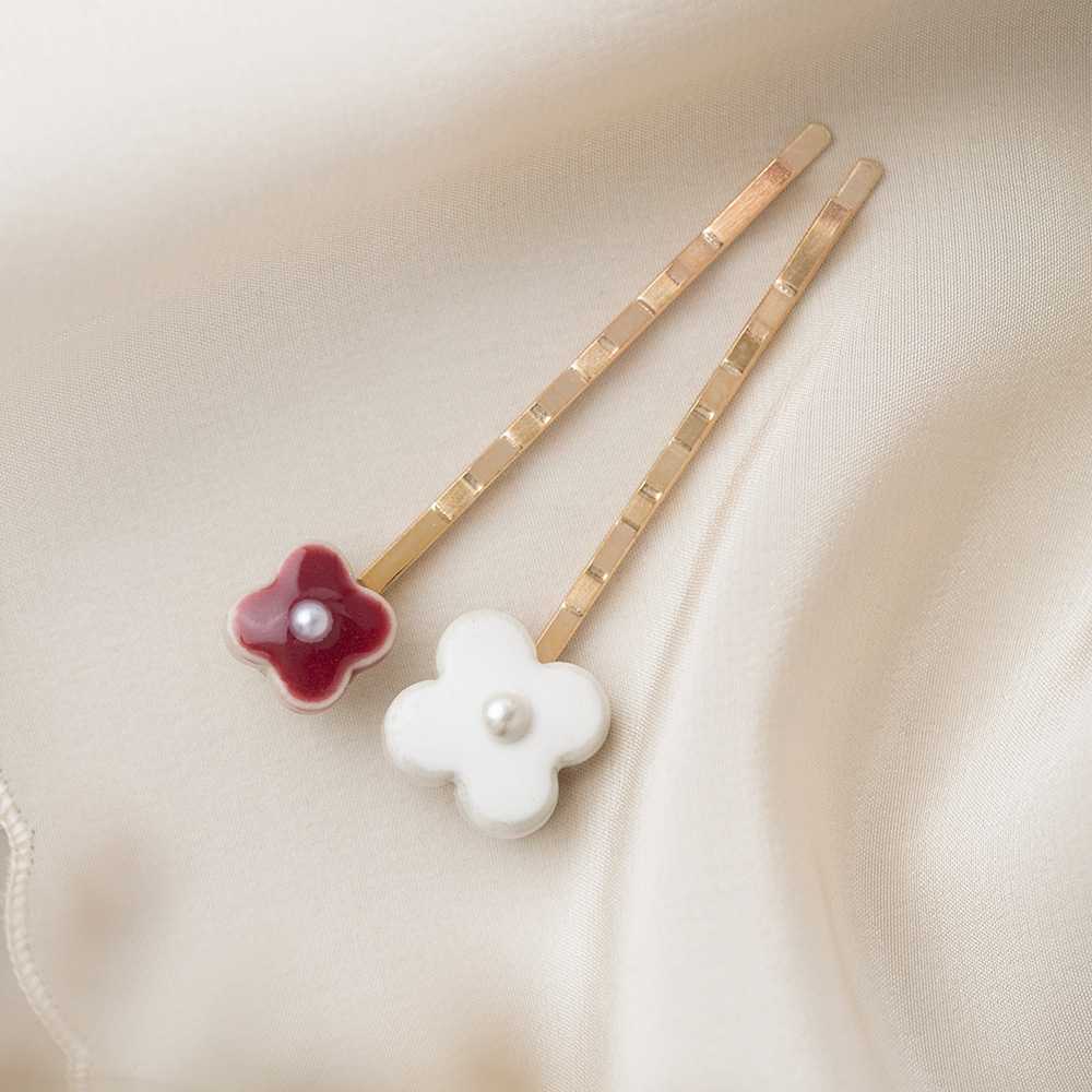陶器 お花 ヘアピンセット ホワイト×ボルドー 美濃焼