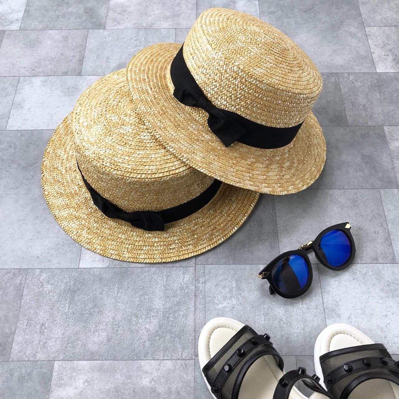カンカン帽(黒リボン)no.805013