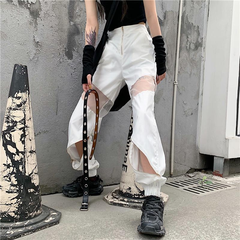 【bottoms】ストリート系配色透かし彫りカジュアルパンツ21843175