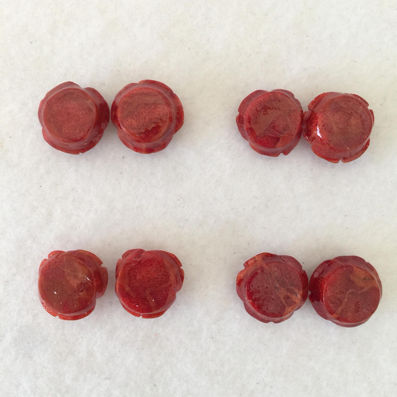 スポンジサンゴ バラ 約15ミリ ペアー 濃色【180018A】