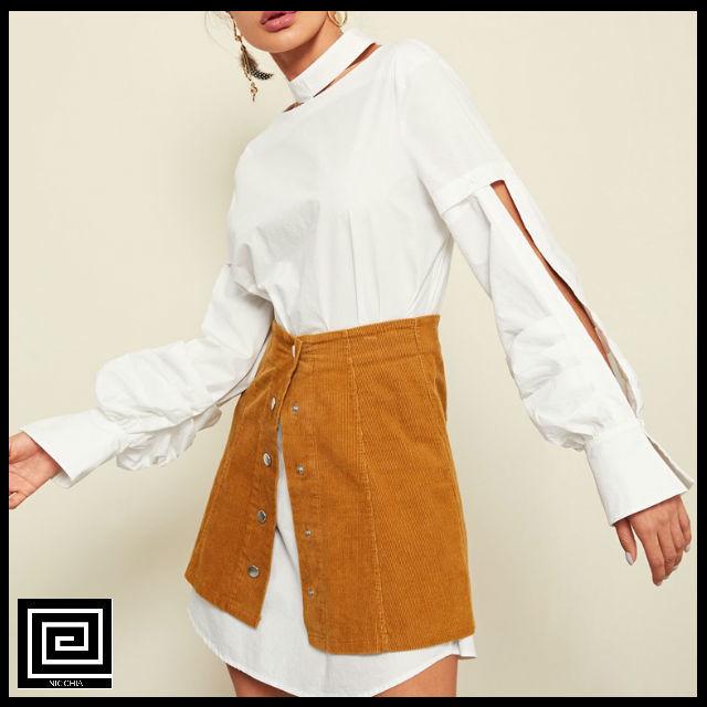 カットアウトボタンフロントモックネックシャツドレス