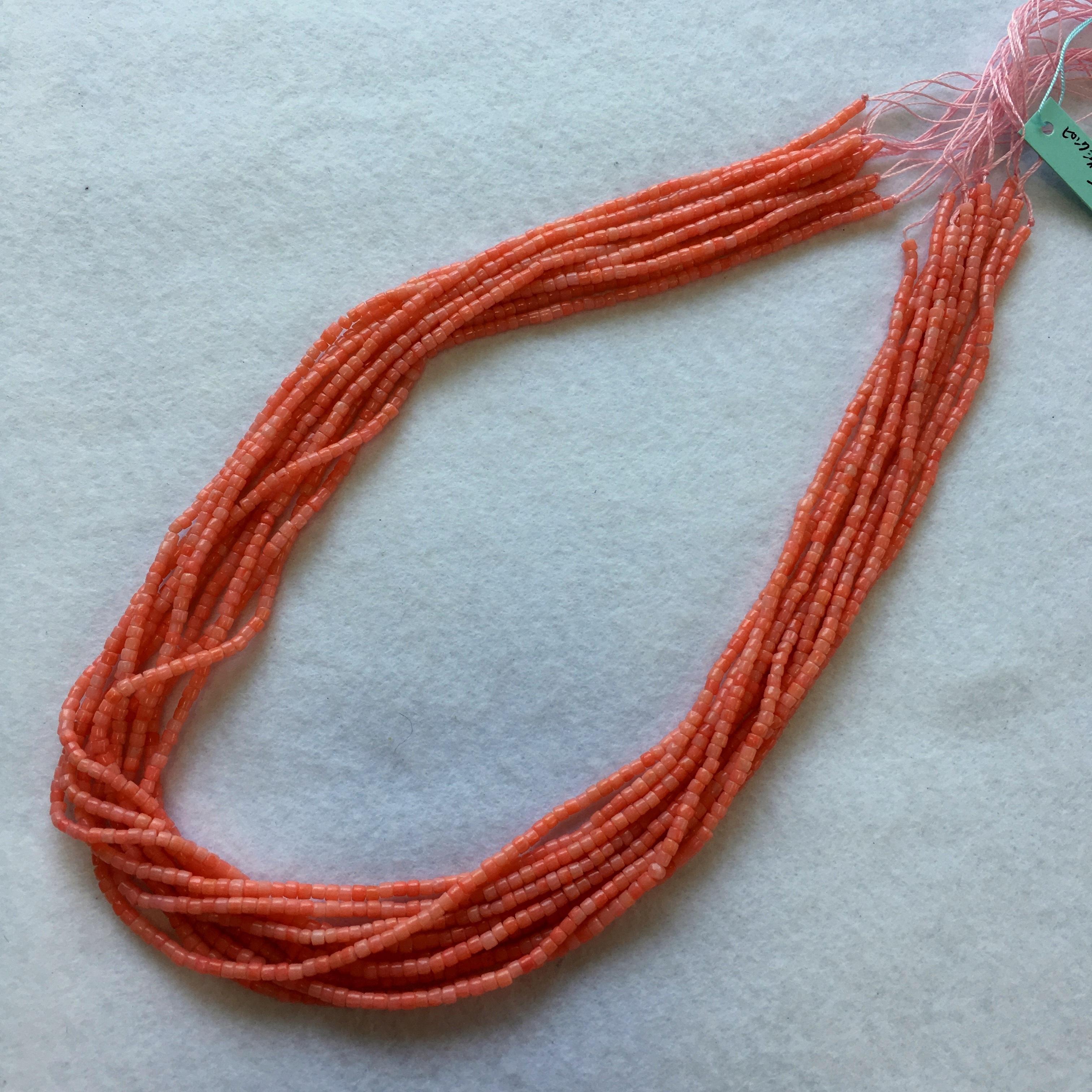 ピンク染サンゴ  シリンダー型約2x2㎜ 連材【193242】