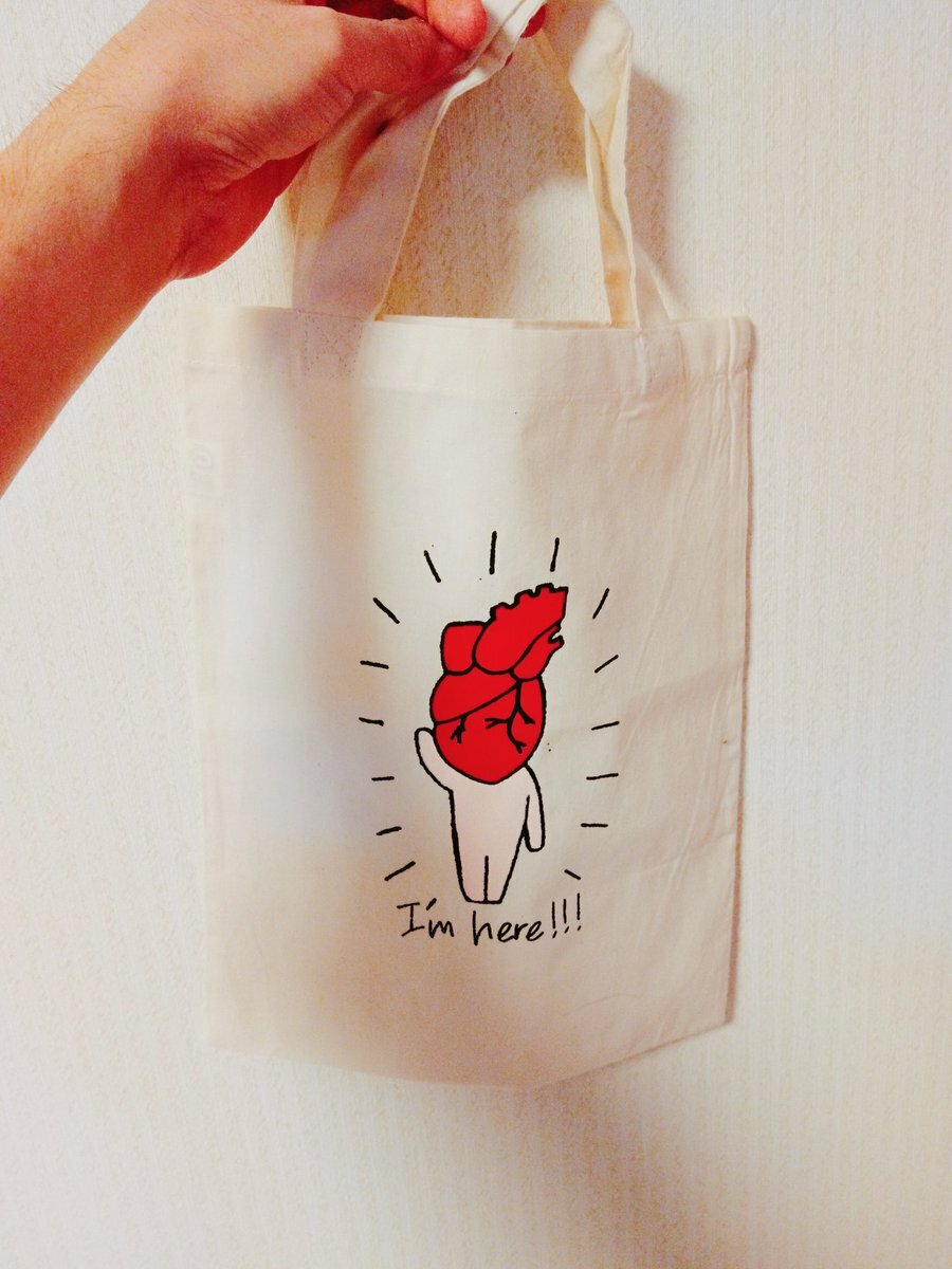 "Tote bag ""BABY HEART HUMAN"" / A4 size( 210mm×297mm ) / Silk screen"