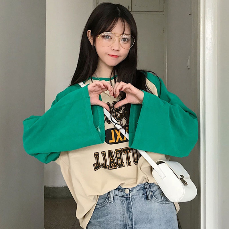 【tops】ファッション配色プルオーバーTシャツ22404193