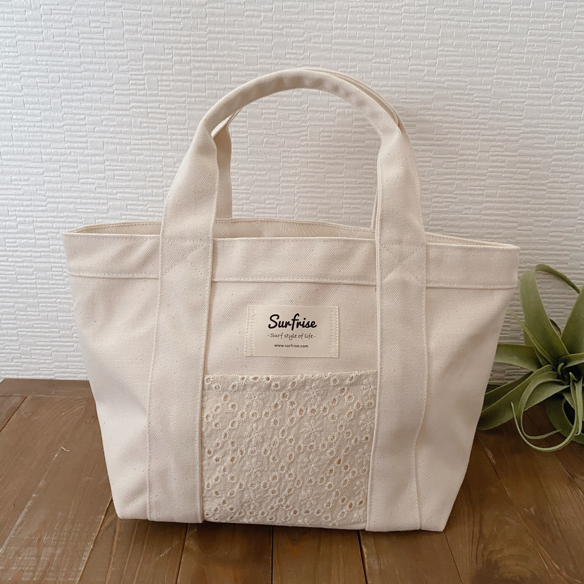 Tote bag S - White / Flower lace