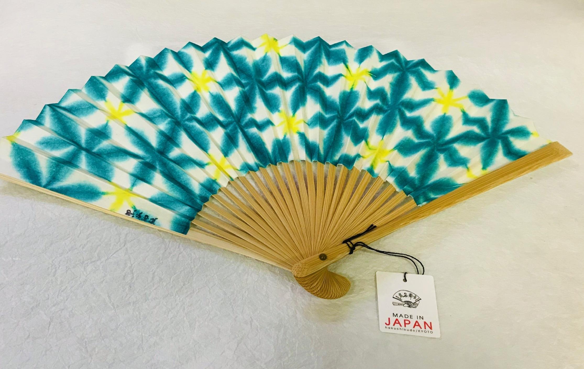 京都黒谷和紙 扇子 雪花絞り 女性用  (緑)