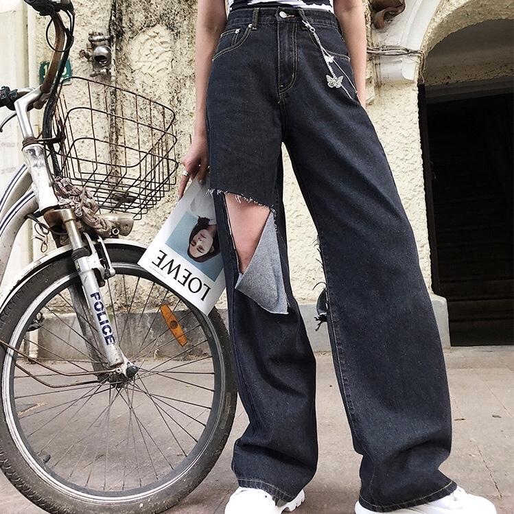 over damage cut pants
