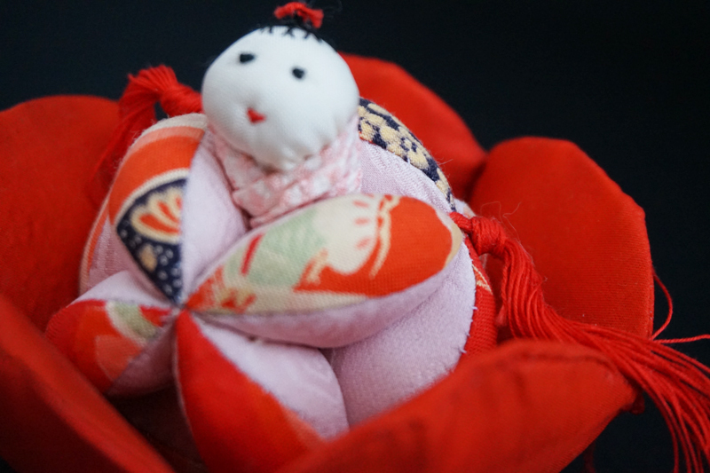 着物、和服の古布人形「花人形・女の子」 - 画像2