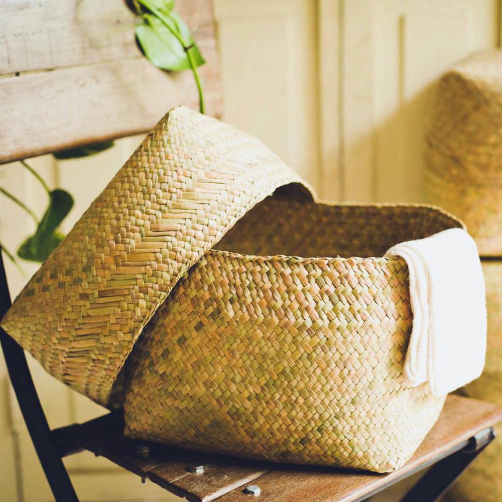 水草の蓋付きかご 大 Lサイズ ボックス型 / Water Glass Box Basket (L)