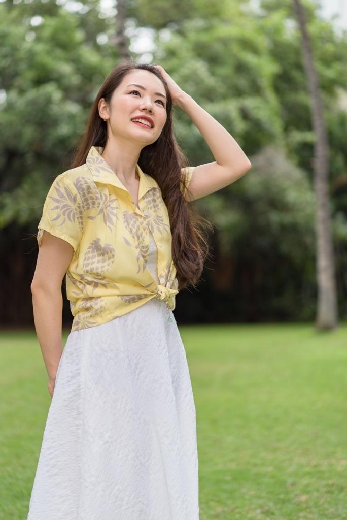【LeaLea×Kona Bay Hawaii】レディスアロハシャツ(イエロー)