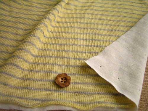 綿混接結ニット、ボーダー柄 レモン+杢グレー NTB-0139