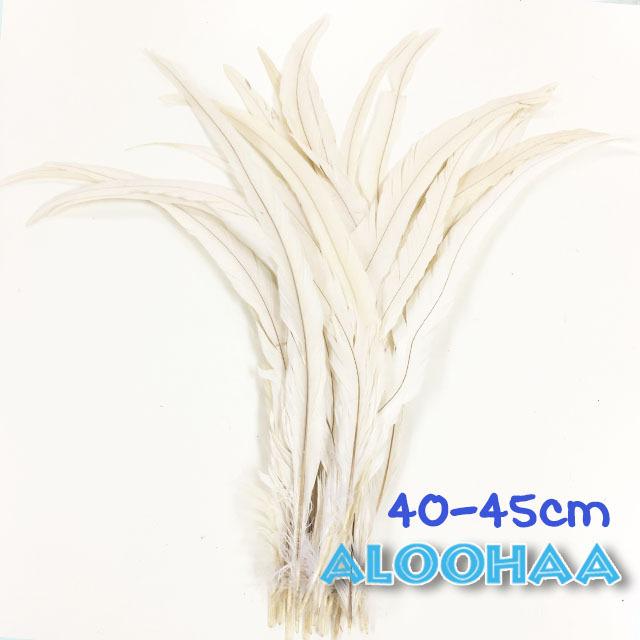 単色 ロングフェザー【白】40-45cm 10本 DIY 羽 衣装材料 タヒチアン