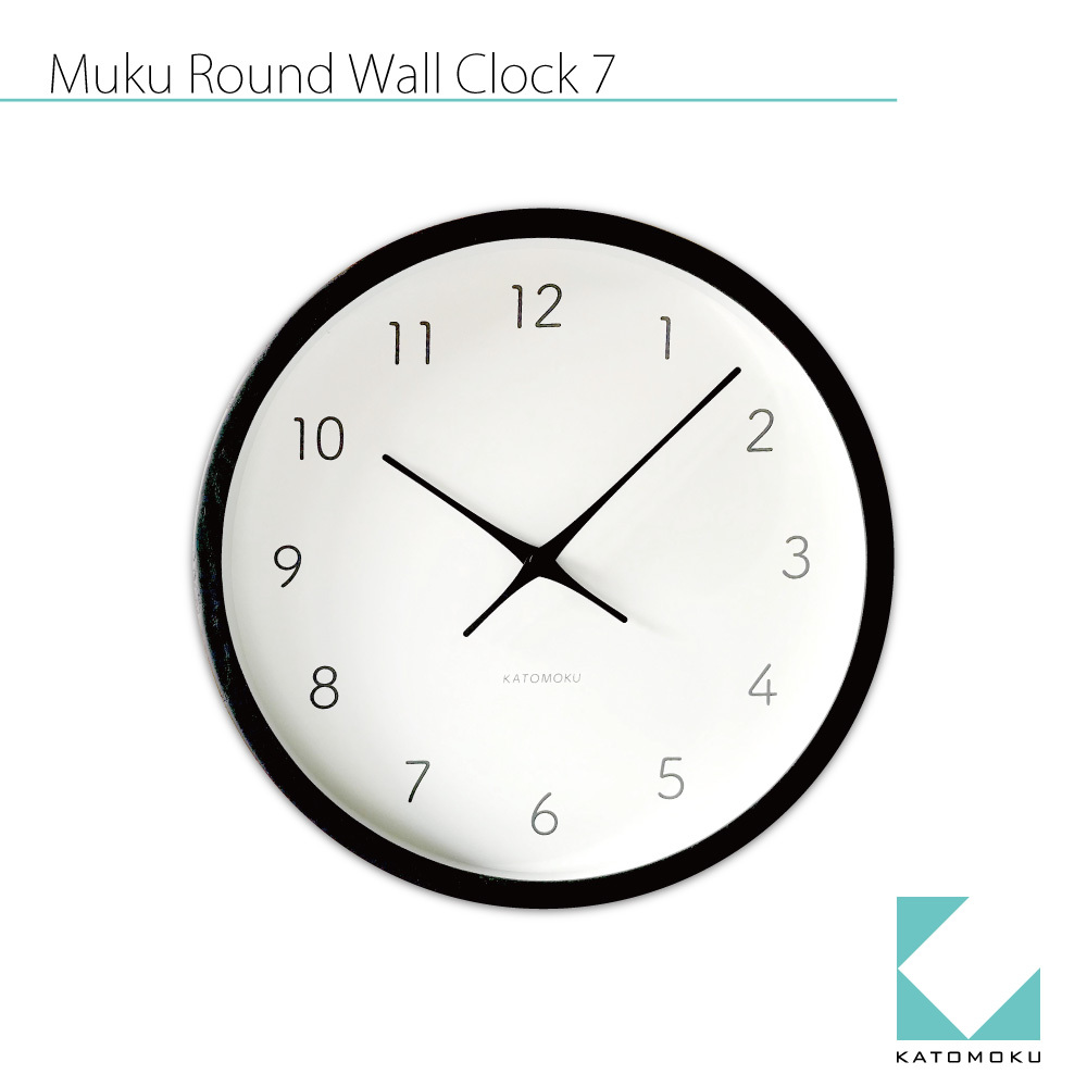 KATOMOKU muku round wall clock 7 km-60BK ブラック