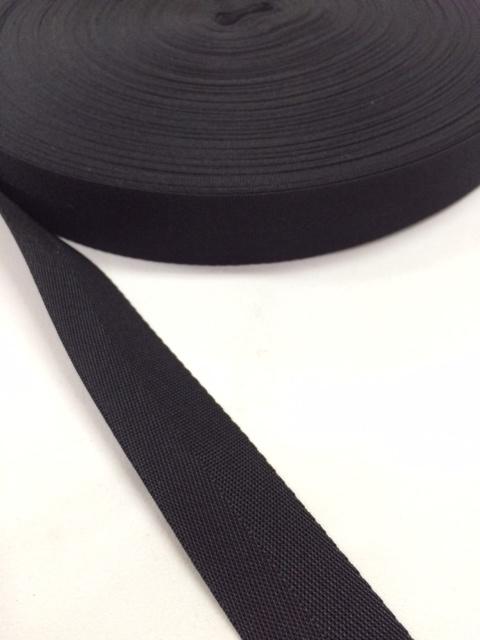 ナイロン 杉綾織(綾テープ) 25mm幅 黒 1mカット