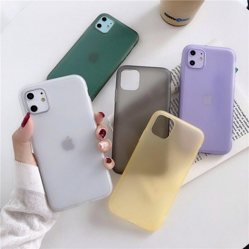 【お取り寄せ商品、送料無料】5カラー 無地 シンプル マット ソフト iPhoneケース iPhone11