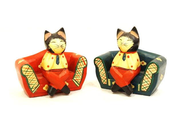 木彫りのバリ人形11 ネコ双子