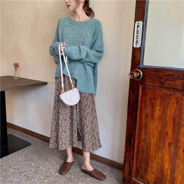 【送料無料】 大人カジュアル セットアップ♡ アシンメトリー プルオーバー ニット × 花柄 フレア ロングスカート
