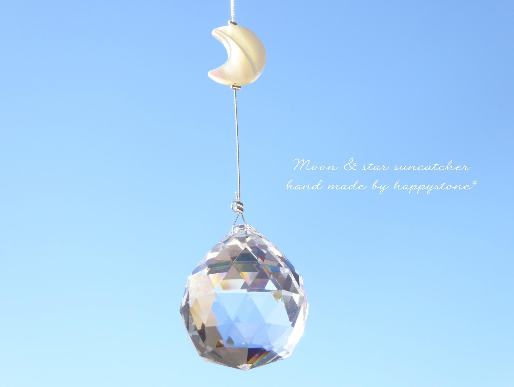 送料無料/星に願いを*月と星のサンキャッチャー
