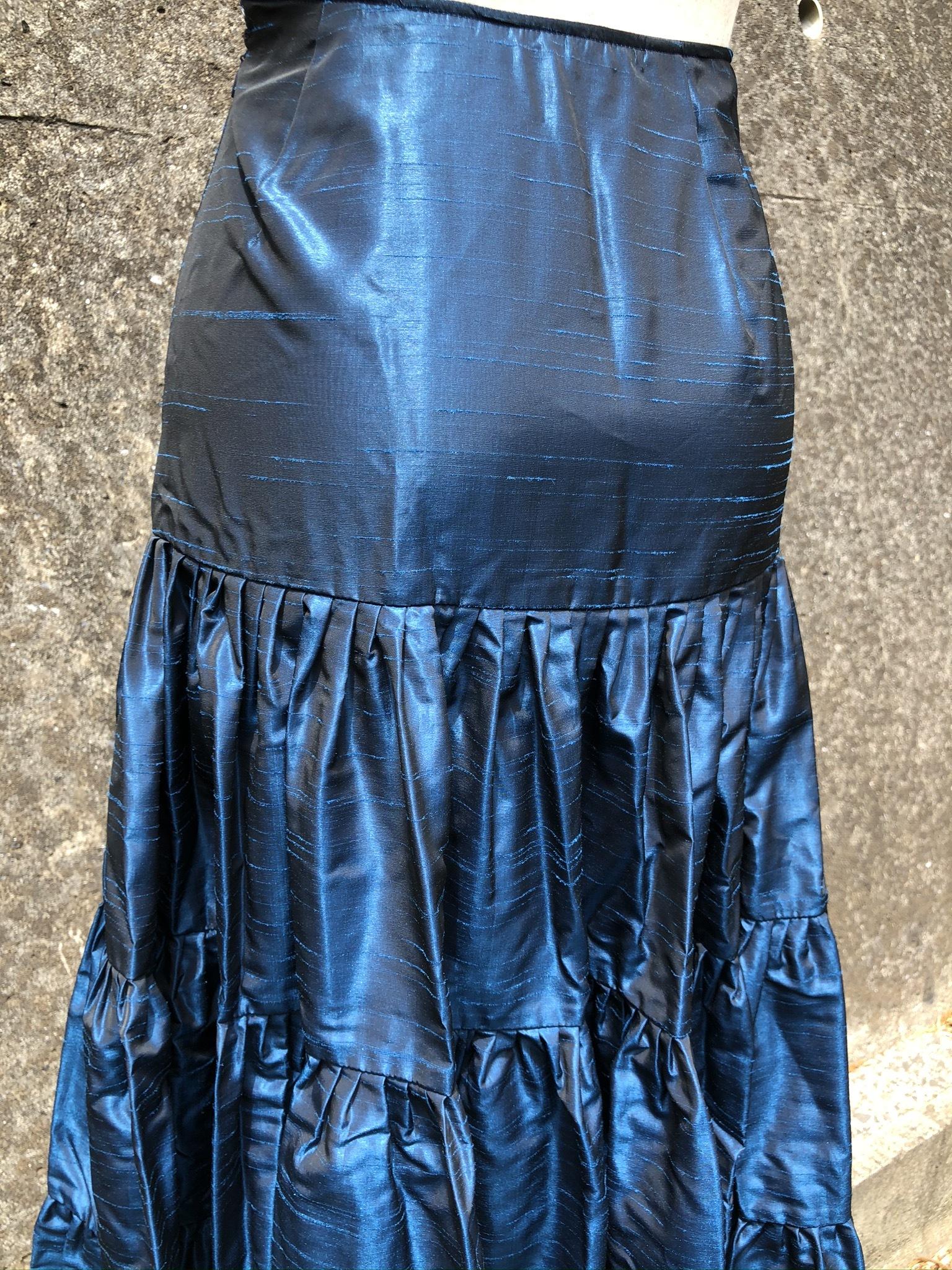 taffeta tiered skirt