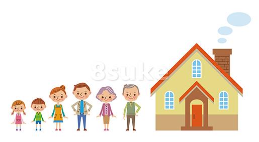 イラスト素材:マイホームと幸せ3世代家族(ベクター・JPG)