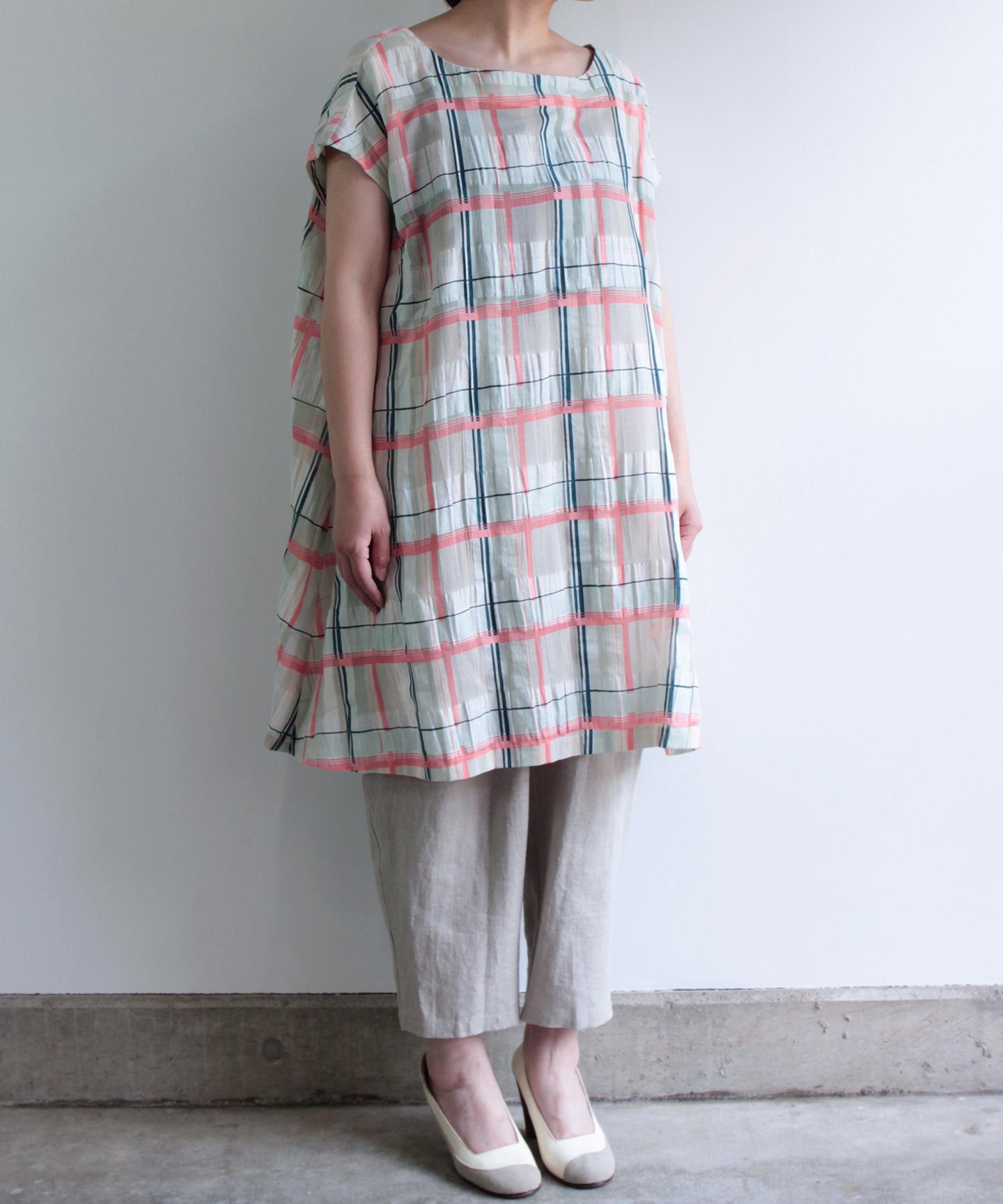No.6:コットンリネン格子柄ワンピースドレス(eva633 BLUPNK 02)