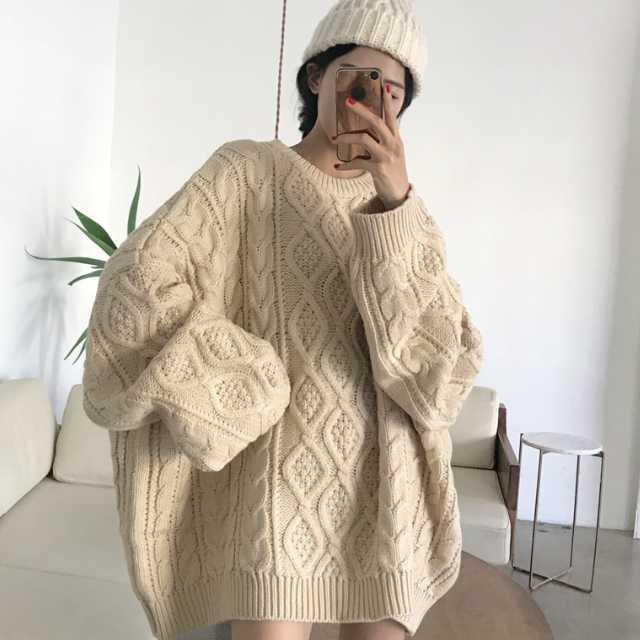 【送料無料】ゆったりあったか♡ ゆるかわ♡ オーバーサイズ ケーブル編み ニット