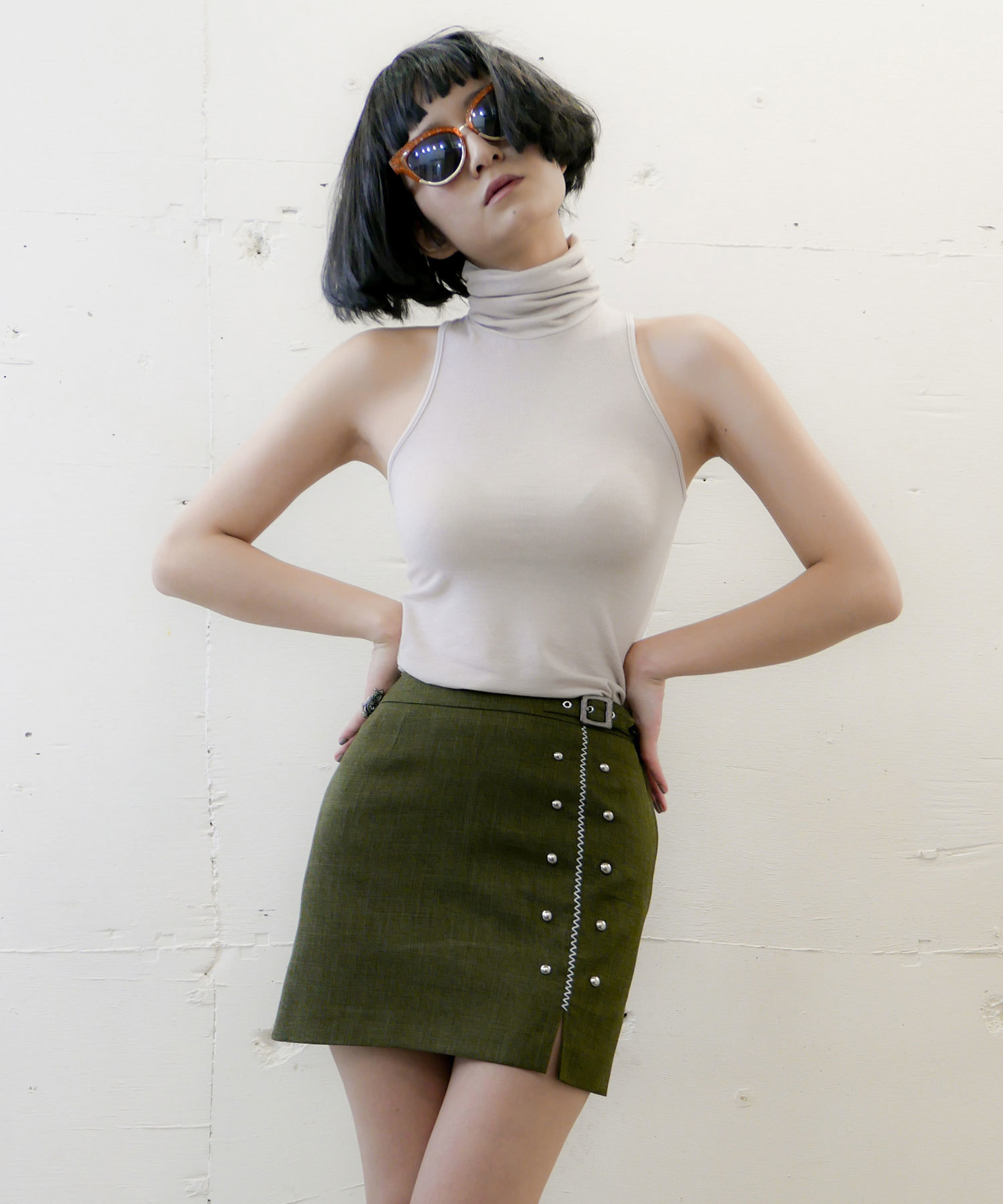 df17SS-IR06 STUDS BELT SKIRT (green)