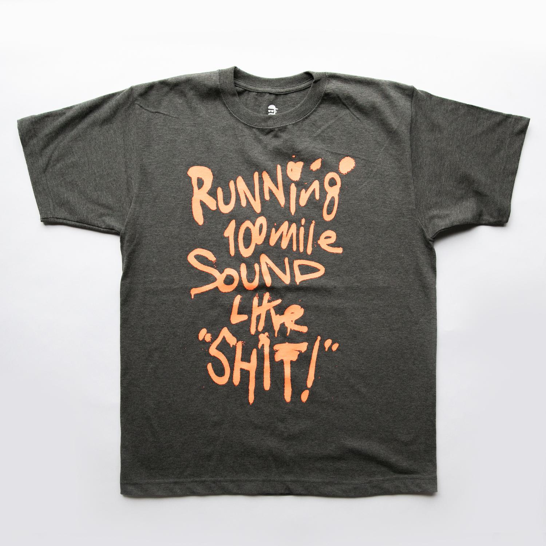 Running 100mile Sounds Like SHIT! t-shirt by RYUJI KAMIYAMA (ORANGE)