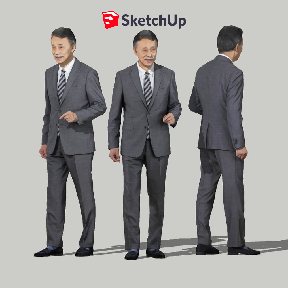 SketchUp素材 3D人物モデル ( Posed ) 045_Ken - 画像1