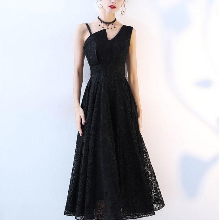 アシンメトリーショルダーロングワンピ―スドレス☆3色