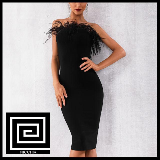 ストラップレスファータイトドレス