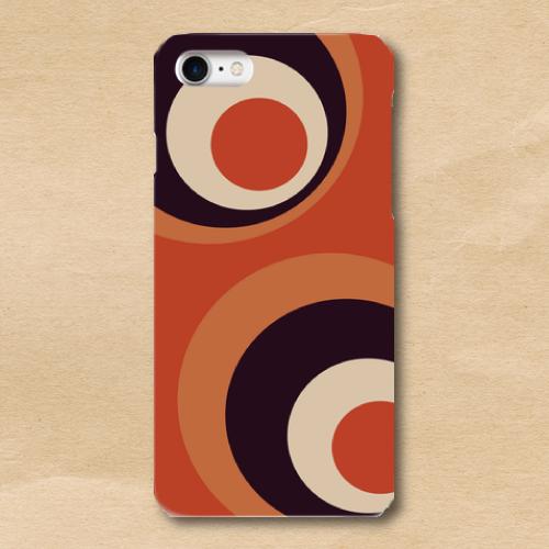 レトロポップ/橙/紺/水玉/iPhoneスマホケース(ハードケース)