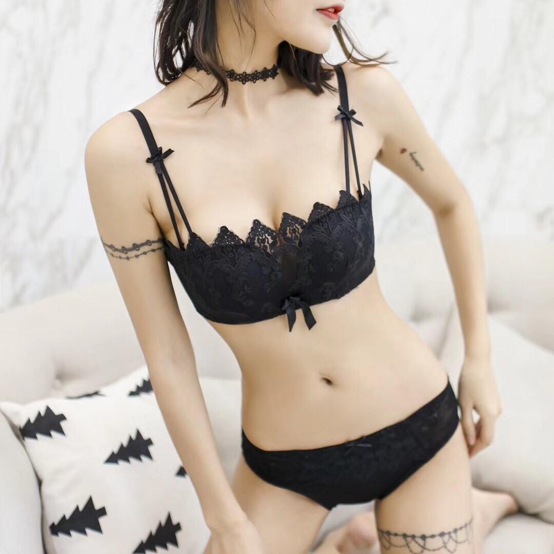 (ABカップ)【下着セット】セクシー刺繍ワイヤーなしブラ&ショーツセット20020999