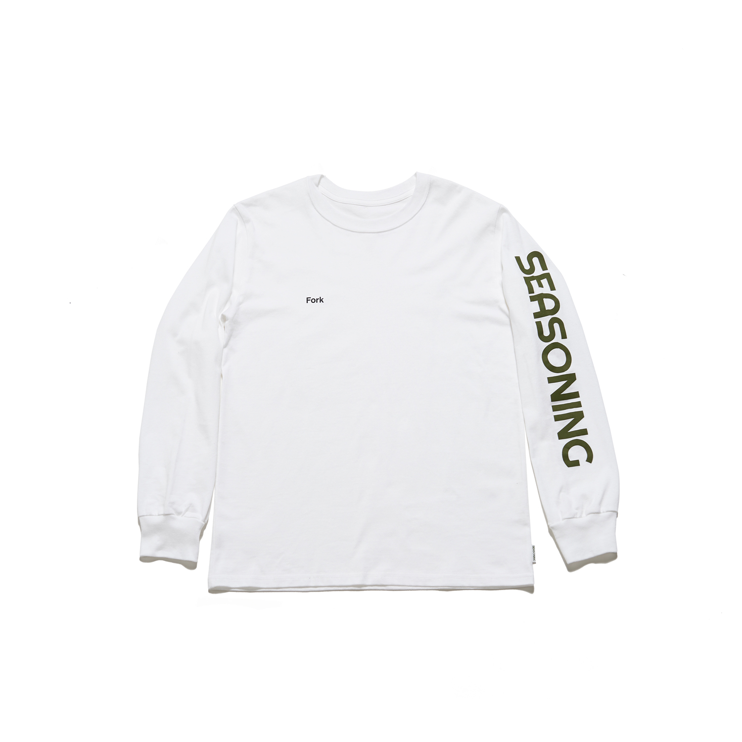 "SEASONING L/S TEE ""Fork"" -  WHITE"