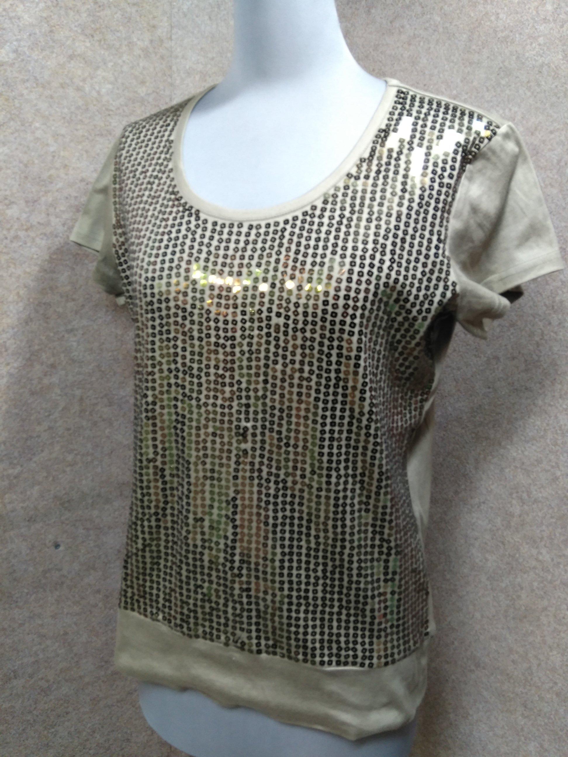 モガ MOGA スパンコール Tシャツ カットソー 3 カーキ mu654e