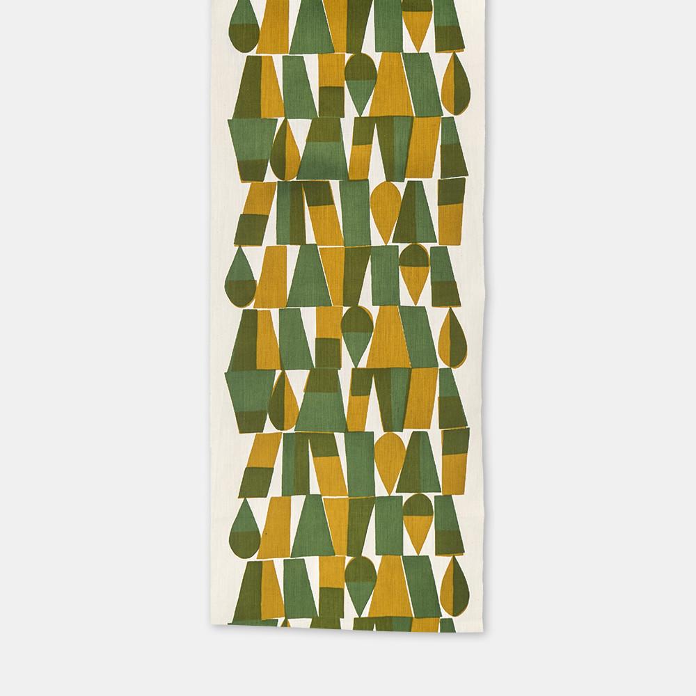 柚木沙弥郎 小巾布 幾何文 緑 シルクスクリーン(手捺染)