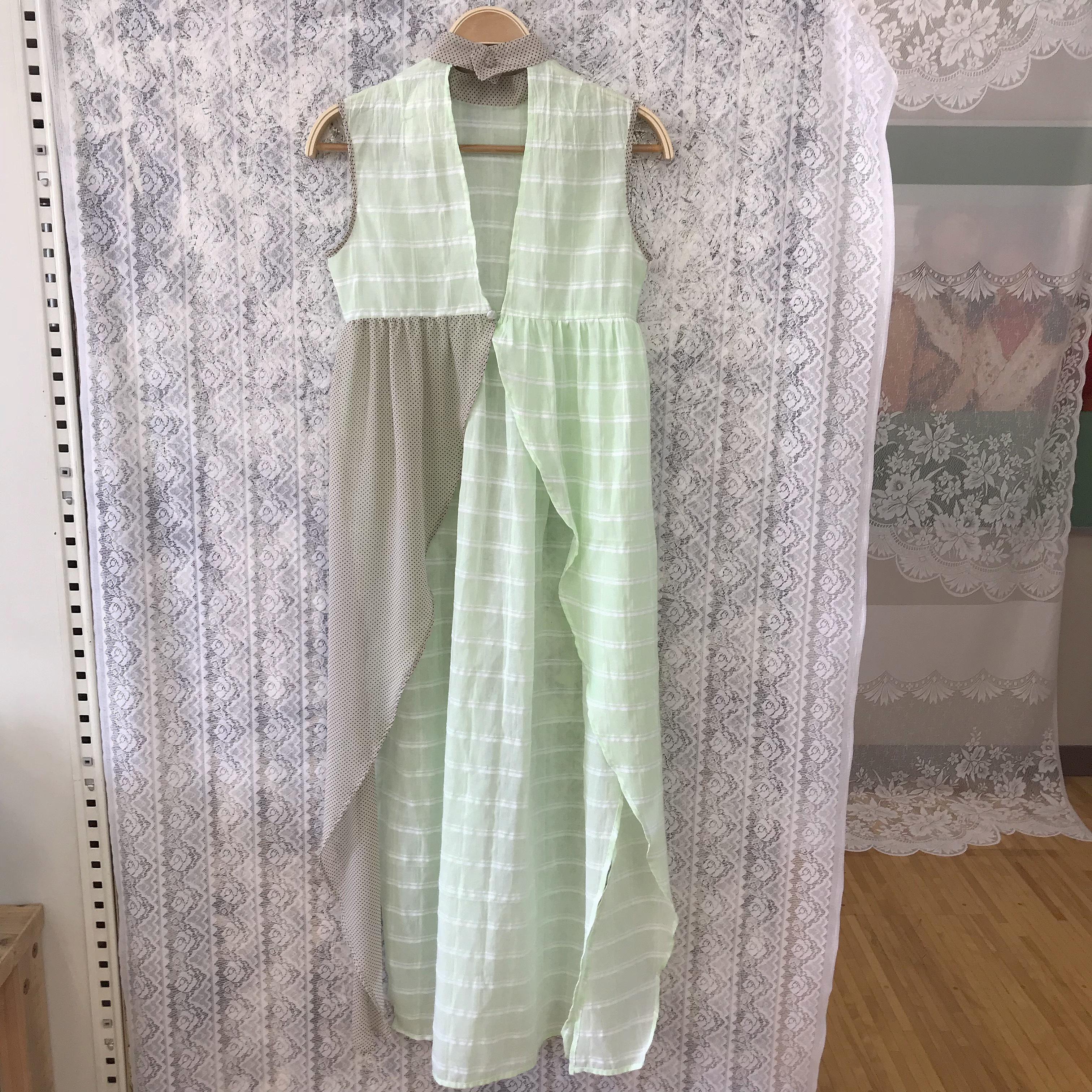 Apron dress〈green×beige〉